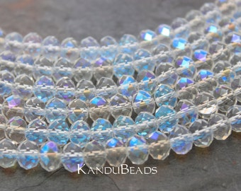 """Clear Bride White Pearl Color Aurora Borealis Faceted crystal roundel beads 4x6 mm 15"""" strand"""
