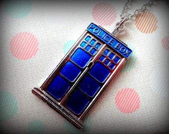 Blue Police Box Necklace. Inspired by Dr. Who Series.