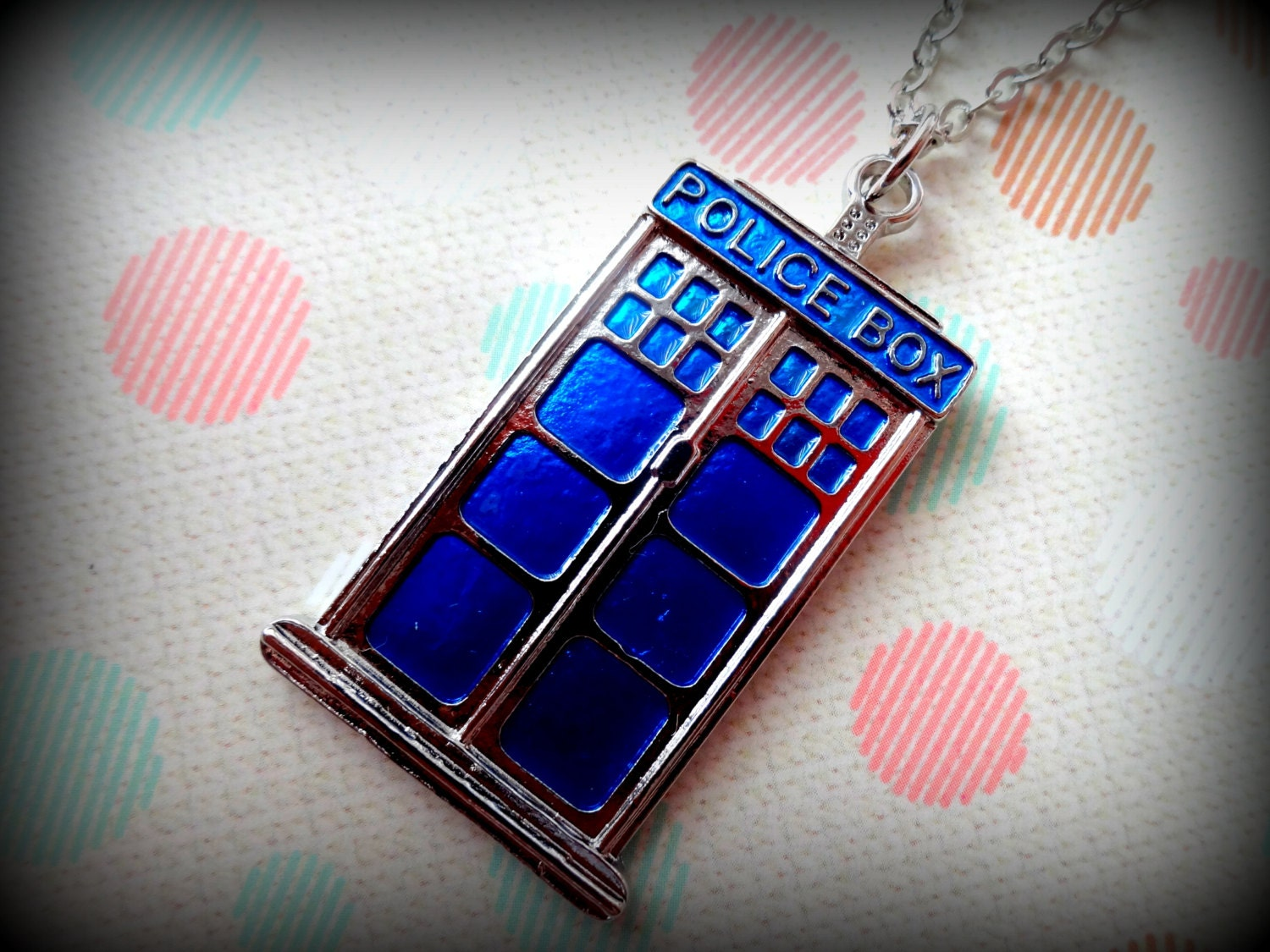Blue Police Box necklace - Doctor Who Tardis