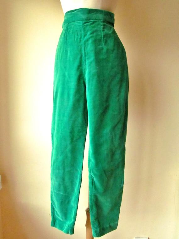 HARD to FIND 1950s Kelly Green Velvet Cigarette Pants -  XS S
