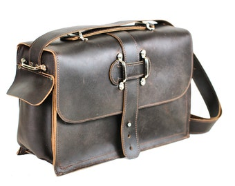 Men's Leather Satchel - Chocolate Brown Leather Messenger Bag - Leather Laptop Bag - Rustic Industrial Briefcase Design