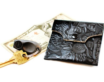 Leather Coin Purse in Embossed Floral Black Leather - Envelope Change Purse Pouch
