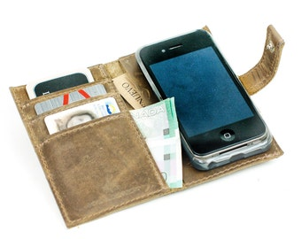 Leather iPhone Case Wallet - Distressed Leather Phone Wallet - Retromodern