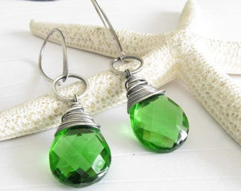 Organic oxidized sterling silver gemstone earrings. Peridot quartz. Juicy green. Long dangle brushed artisan handmade.  Gift for her.