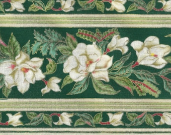"""Magnolia Fabric - """"Magnolias"""" in Hunter Green from Blank Textiles"""