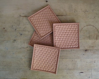 Hand Stamped Leather Beverage Coasters - Set of 4