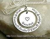 Hand Stamped Grandma Necklace with Six Names - For Mother or Grandma - Sterling Silver