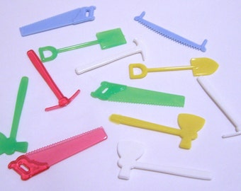 12 Miniature Tools Pastel Plastic Charms