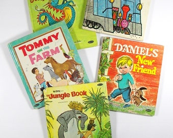 Vintage Children's Books Whitman Tell-A-Tale Hardcover Books - The Jungle Book, Someplace for Sparky, Tommy on the Farm, plus 2 more