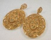 Vintage Earrings Dangle Pierced Large Goldtone