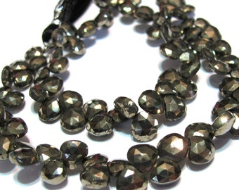 Pyrite faceted flat heart shaped briolettes PREMIUM quality half strand