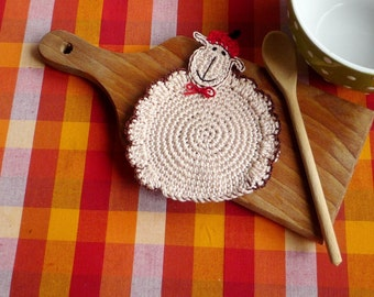 Farmhouse Table Decor - Crochet Coaster Sheep - Lamb Drink Coasters - Coaster set for Two - Gift under 20 - Gift for Mom