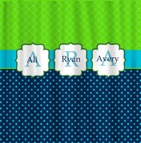 Personalized Shower Curtain - Custom with your Name or Initials - Caribbean Sea (3 Colorway choices)