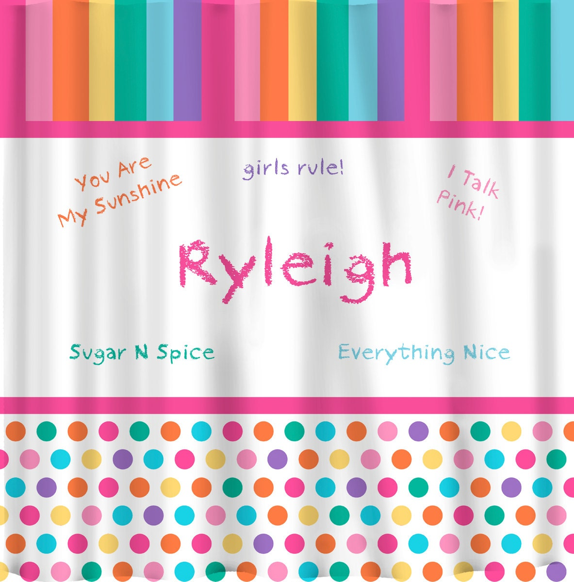 Personalized Girl Talk Pastel Rainbow Shower Curtain by