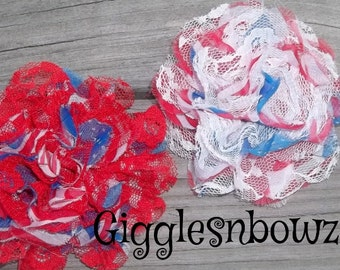 SALE!! STaRS and STRiPES Print- Set of 2 Gorgeous Shabby Chic Frayed Chiffon and Lace Rose Flowers- 3.5 inch