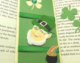 May The Luck of The Irish Be With You Bookmark, St. Patrick's Day, Green, 4 Leaf Clovers, Leprechaun, Pot of Gold, Horse Shoe