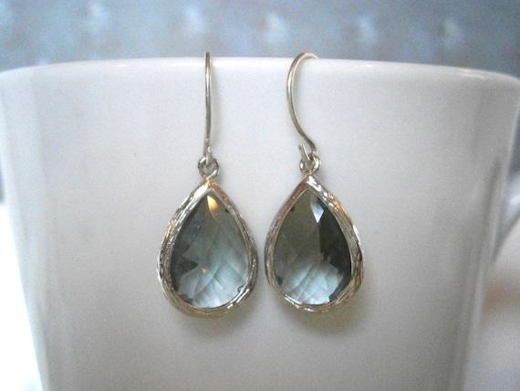 Grey Earrings, Teardrop Silver Earrings, Gray Earrings