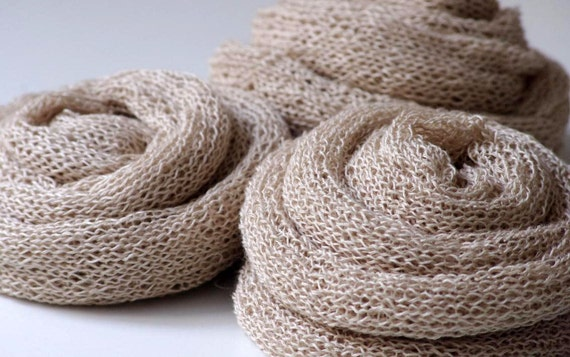 SALE. Hand knitted scarf from natural linen.  Ready to ship.