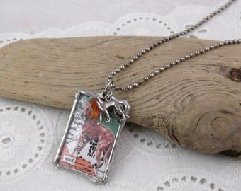 Handmade Reversible Collage Style Graceful Senior Greyhound Necklace - Soldered Glass and Carnelian - One of a Kind - Exclusive