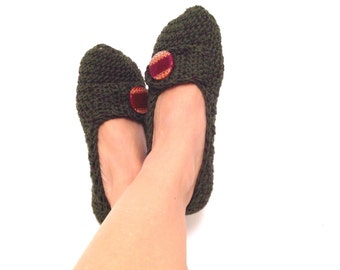 Green Asparagus Garnet Tweed With Button Crochet Womens Slippers, Ballet Flats, House Shoes