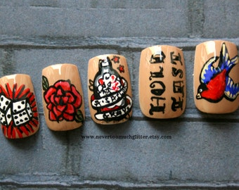 Old-School Tattoo Nail Art- Custom Fake Nails, Japanese Nail Art, Tattoo, Vintage, Retro, Rockabilly, Press On Nails, False Nails, Acrylic