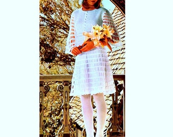INSTANT DOWNLOAD PDF Vintage Crochet Pattern   Lacy Wedding or Mini Evening Dress and Head Dress  1970s Retro