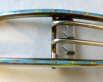 B B & B Bailey Banks Biddle Blue Enamel Belt Buckle Sterling Silver 48g.