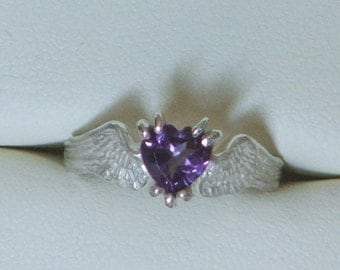 HEARTBEAT Remastered Sterling Silver and Amethyst Angel Fairy Wings With a Heart-Ready to Ship
