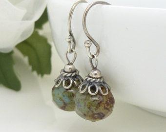 Sage green earrings, Green czech glass earrings, Vintage style sterling silver, Blue green jewellery, Green dangle earrings