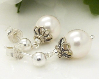 White pearl drop earrings, pearl wedding jewelry, sterling silver, vintage style pearl earrings, small white pearl earrings