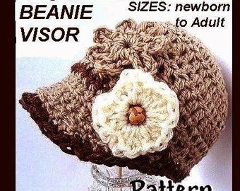 Crochet Pattern - Ashton Beanie Visor  Newsboy Hat -PDF 74 - all sizes baby to adult INSTANT DOWNLOAD