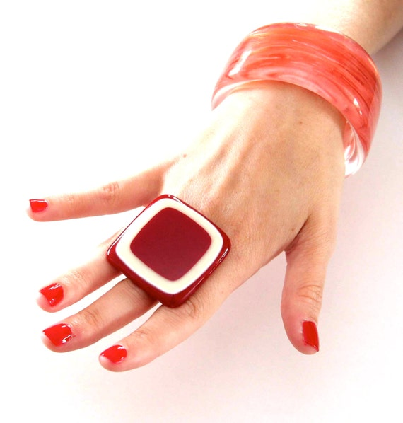 Gift Idea For Her -  handmade bold big statement cocktail ring, - POPPY RED  1.8 inch