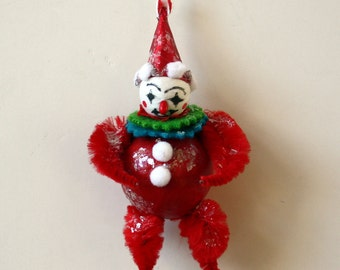 Vintage Inspired Red Circus Clown Ornament Decoration