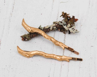 GOLD Branch Bobby Pin Set Twig Forest Fairy Woodland Wedding Nature Garden Wedding Bridal Bohemian