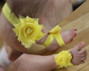 BOGO Yellow Baby Barefoot Sandals and Headband Sale