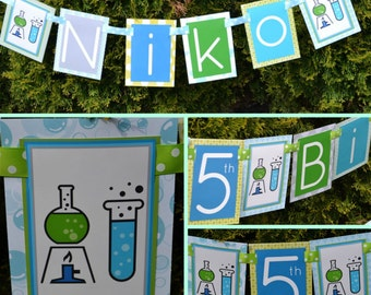 Scientist Birthday Party Banner Decorations Fully Assembled