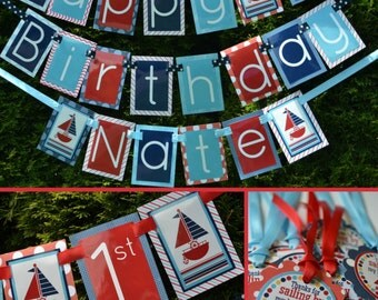 Nautical Birthday Party Decorations Fully Assembled Red White Blue