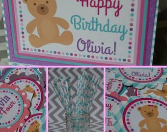 Teddy Bear Birthday Party Decorations Pink Aqua Purple Fully Assembled