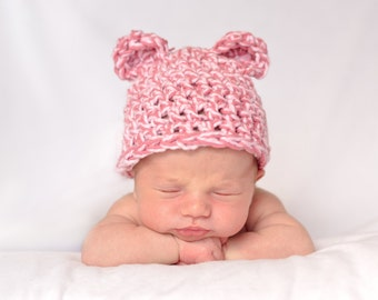 Crochet Pink Bear Hat