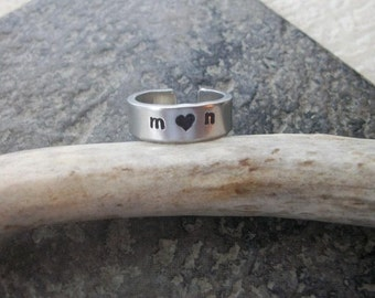Expressions - True Love Couple Aluminum Ring - Personalize With Your Initials - Great Gift For Your Valentine