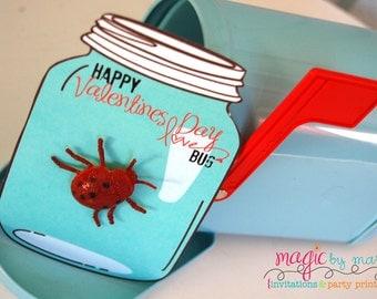"INSTANT DOWNLOAD Printable Mason Jar ""Love Bug""  Valentines for Valentines Day"