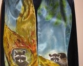 Racoons hand painted on silk
