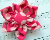 Dots in Pink Fabric Flower Hair Clip