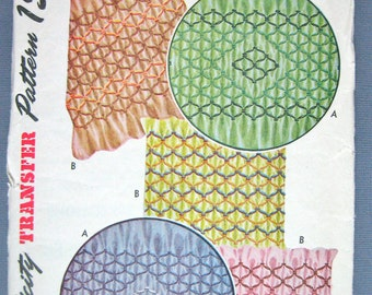 Vintage 7263 transfer pattern from the 1940s for dainty embroidery smocking.