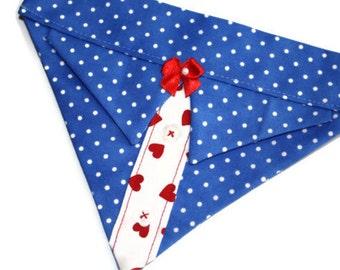 Fancy Dog Bandana Blue Polka Dot Red Hearts Sz S