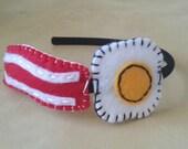 Power Breakfast Eco Felt Bacon and Eggs Headband Fascinator Kitsch