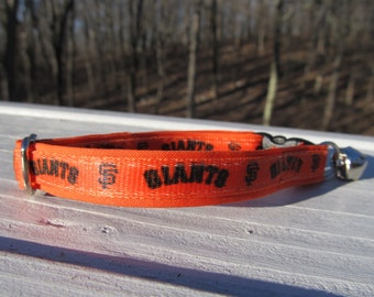 San Francisco Giants Cat  or Small Dog Collar with Option of Orange or Pink Backing