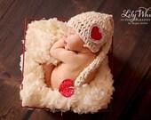 """HandSpun Girls Elf Newborn Photo Prop Hat - """"Sweet Valentine"""""""