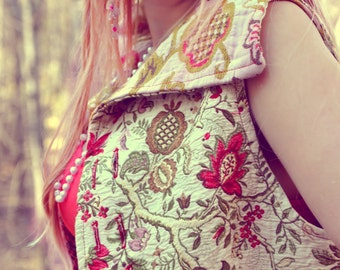 Waistcoat - Upcycled Clothing - Wearable Art Clothing - Reversible Vest - Womens Vest - Floral Print