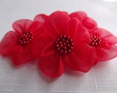 5 pcs Red organza Mini  Flower With Red  Bead...Mini Fabric Flowers